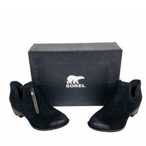 SOREL Black Lolla Waterproof Leather Booties 7.5